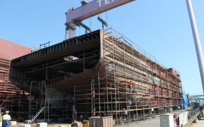 The construction of two live fish carriers continues rapidly in Tersan Shipyard